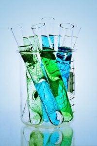 Test tubes in a beaker.
